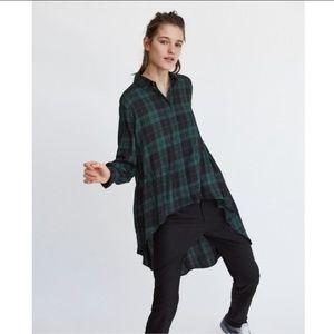 NWT Zara green black plaid checker shirttail shirt